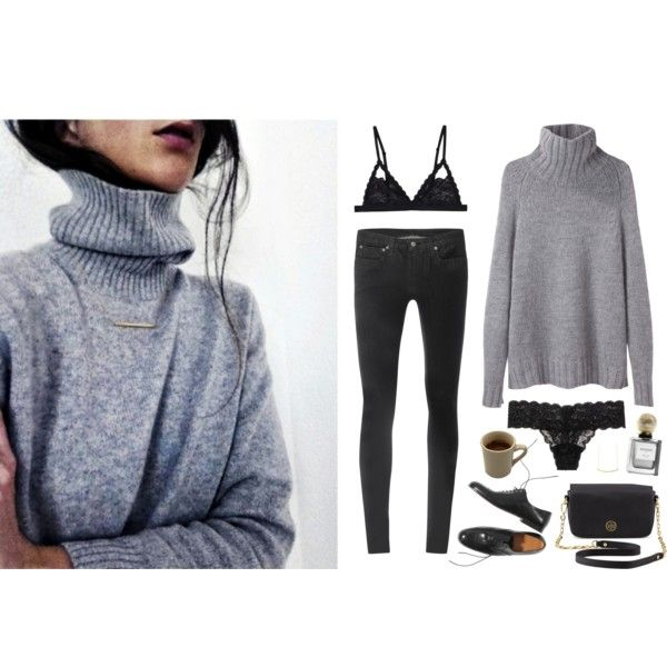#turtleneck #sweater #autumn #fall #fall2014 #cozy #skinnyjeans #jeans #loafers #brogues #lace #lingerie #lacebra #lingerie