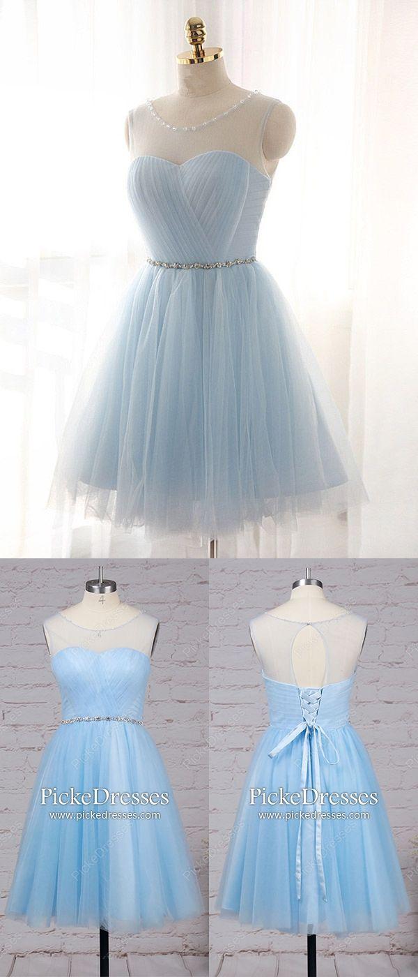 Short prom dresses light sky blue a line formal dresses for teens