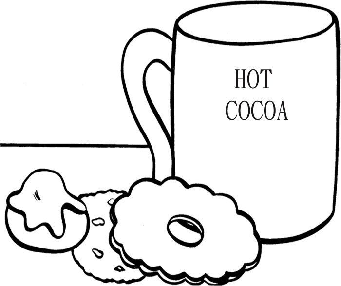 Hot Cocoa With Cookie Coloring Page Super Coloring Pages