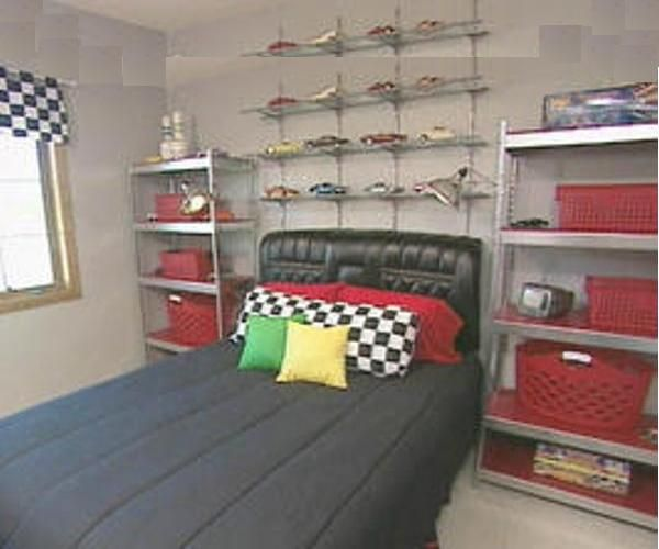 Good Boyu0027s Racing Bedroom : Archive : Home Garden Television A Leather Car Seat  From A 1969 Lincoln Continental Is Used For A Twin Sized Headboard.