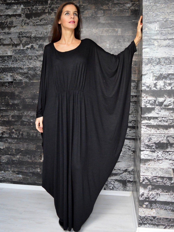 Women's Clothing-Caftan Dress - Black Oversize Caftan - Maternity Wear -Loose Fitted Kaftan- Plus Size Maxi Dress #area51partyoutfit