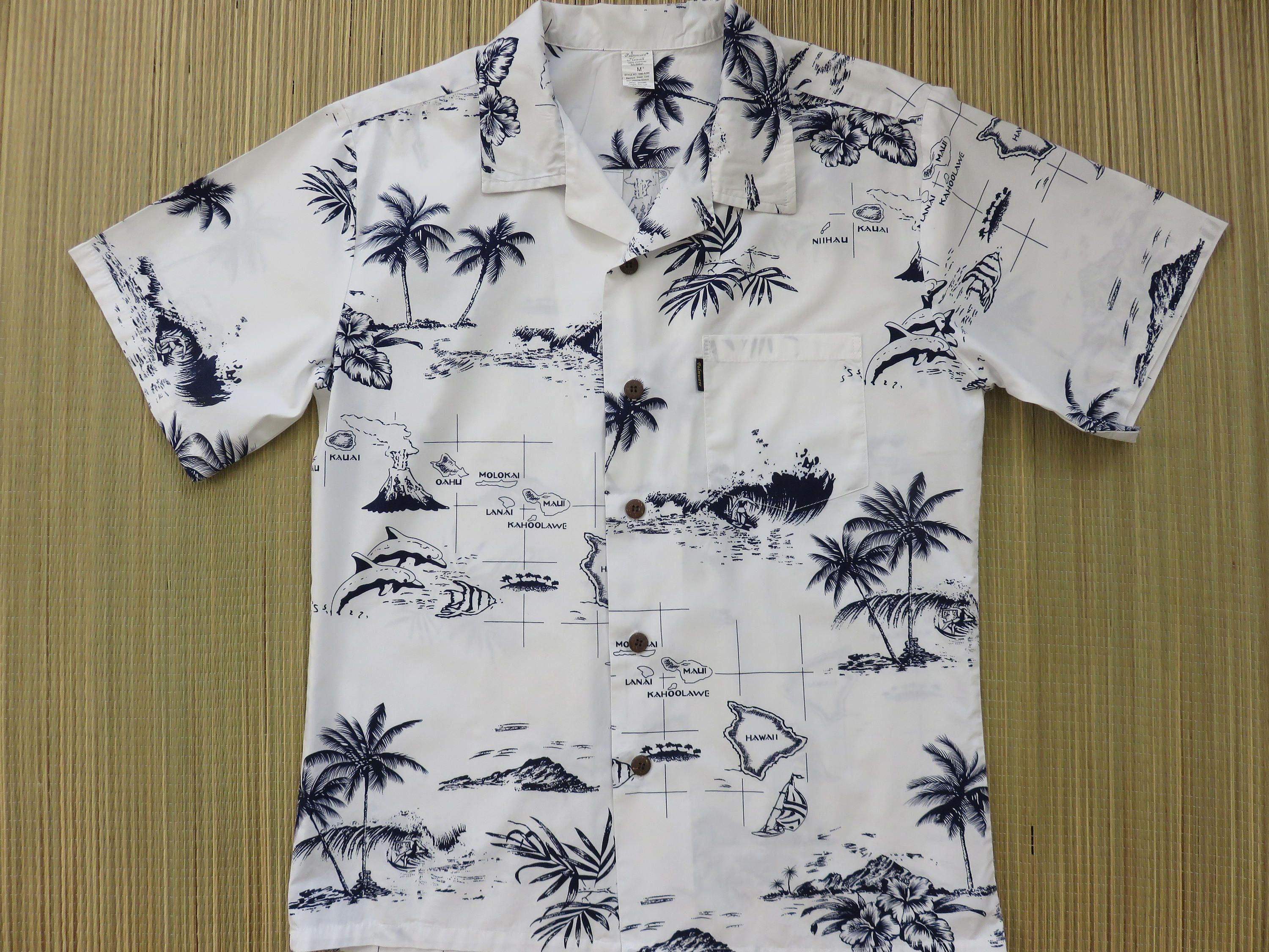3f1838e5 Hawaiian Shirt Map Shirt PALMWAVE HAWAII Islands Surfer Aloha Shirt Volcano  Beach Vacation Vintage Mens Camp - M - Oahu Lew's Shirt Shack by ...