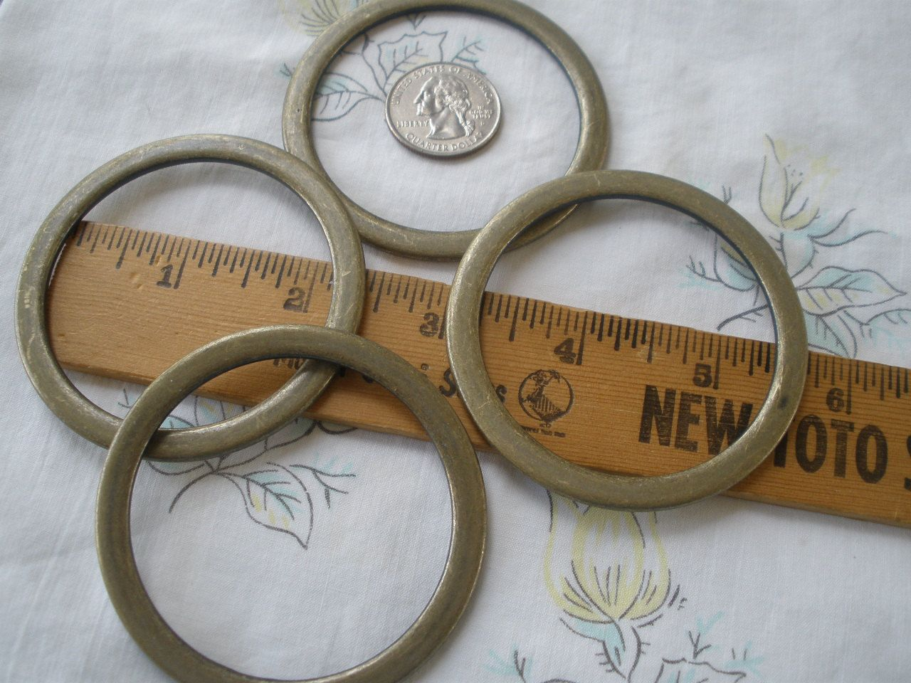 67mm metal flat O rings Antique Brass Color Round 55mm opening 2 5/8 ...