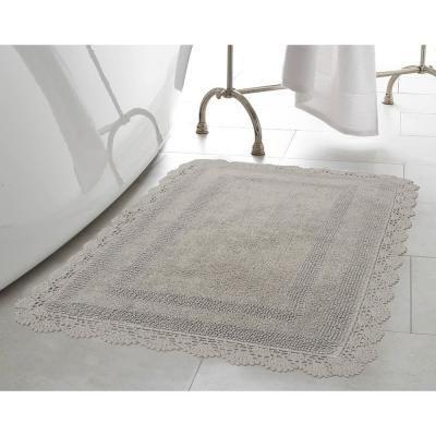 Laura Ashley Crochet 100 Cotton 21 In X 34 In Bath Rug In Light