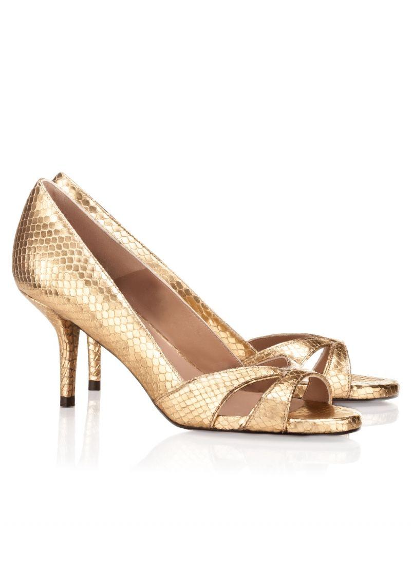 Pura Lopez Medium Heel Sandals In Golden Leather Pura Lopez Heels Sandals Heels Sandals