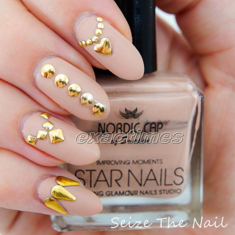 Heart Square Elliptic Round Hollow Stud Rhinestone Acrylic UV Gel Nail Art w B #gold #metallic