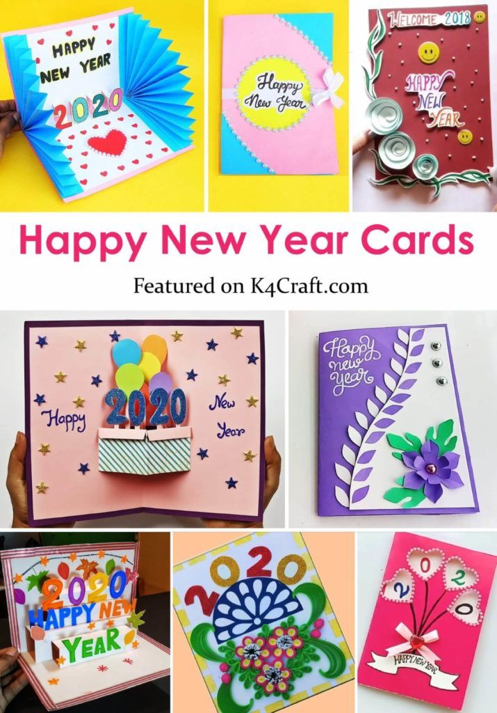 New Year 2020 Easy DIY greeting card ideas for kids (2020