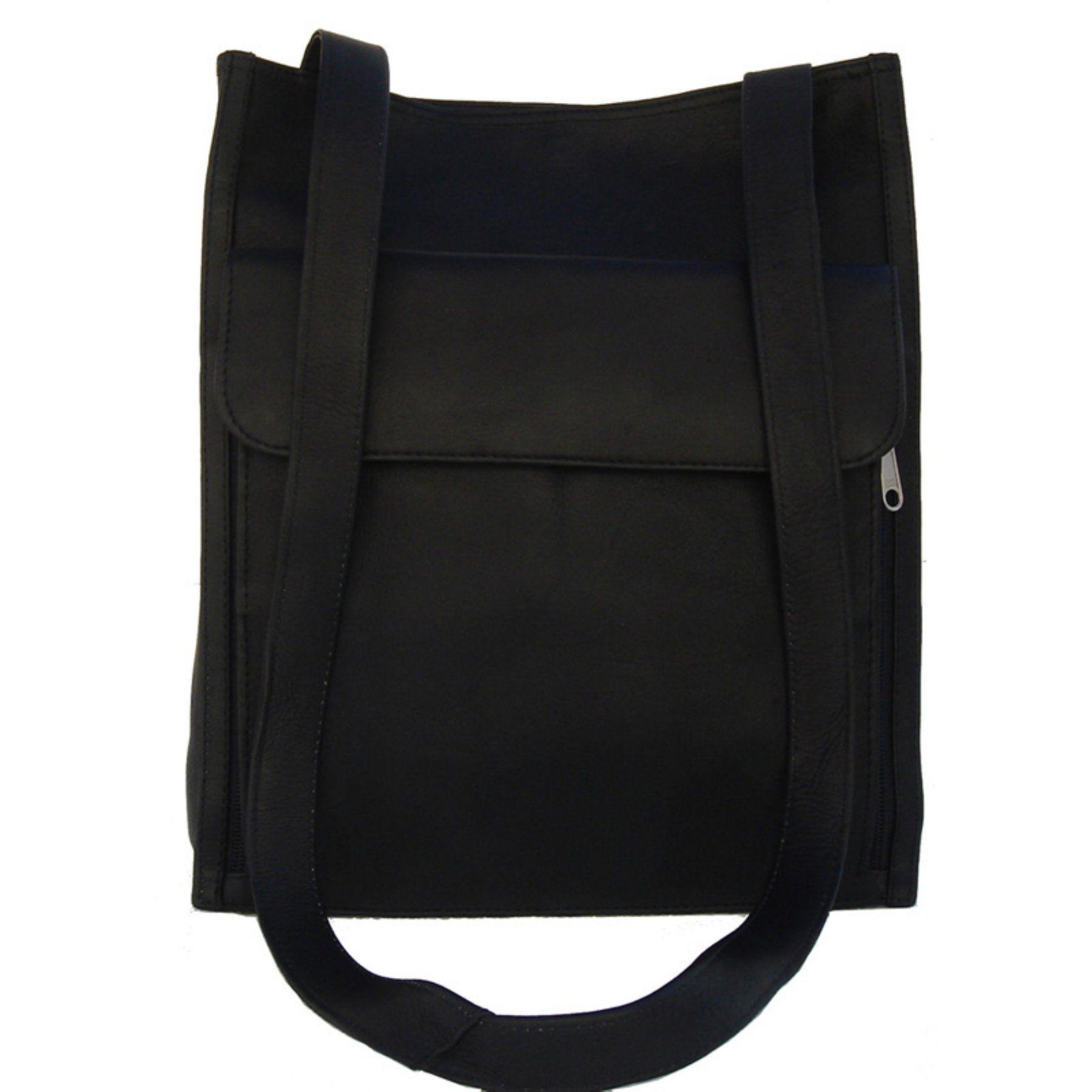 Piel Leather Shoulder Tote Organizer - Black, Women's - 7774-BLK