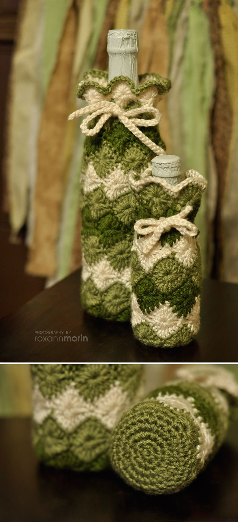 Crochet wine bottle holder / cover I used the harlequin stitch and ...
