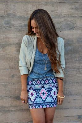 Street style   Grey top, aztec printed skirt, jacket