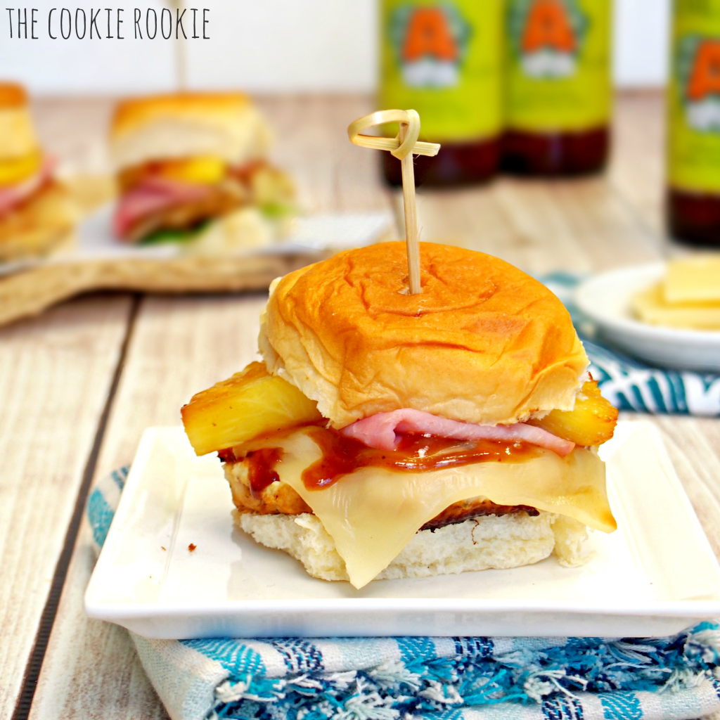 Hawaiian Chicken Burger Sliders. AMAZING!! Healthy and delicious! - The Cookie Rookie * Making burgers with ground chicken or turkey can be tricky but by adding shredded provolone cheese in the patty mixture helps bind the ingredients together when they cook. But that's not the only cheese...you can't have a Hawaiian sandwich without a slice of Swiss!