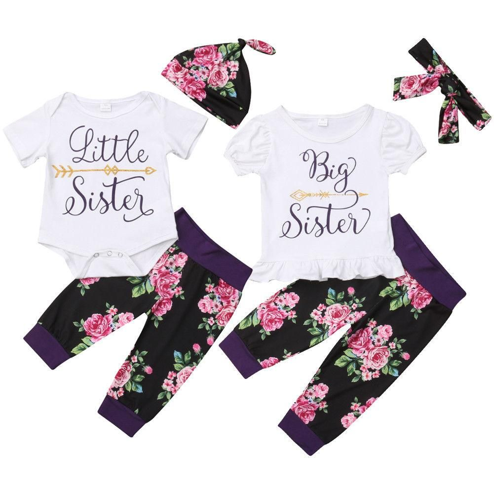 Baby Kids Girls Sister Matching Clothes Romper Tops Shirt Pants Outfits 3pcs Set