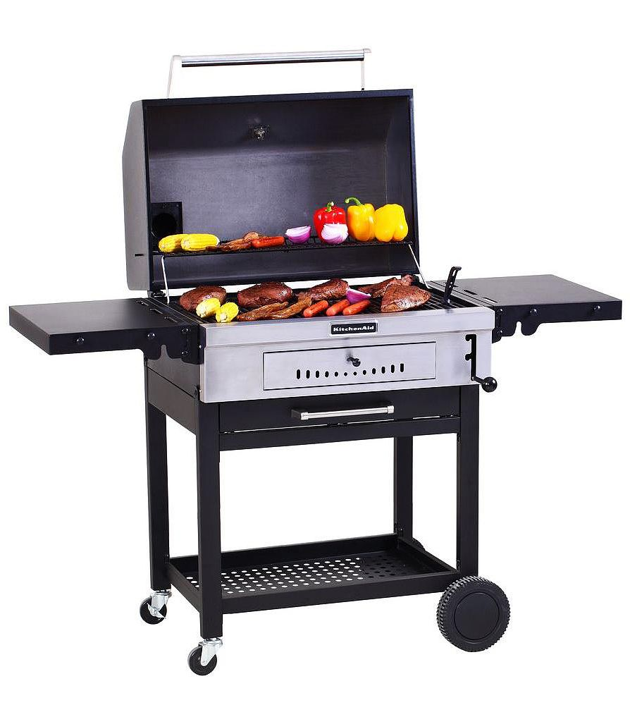Kitchenaid Cart Style Charcoal Grill In Black With Foldable Side Shelves 810 0021 The Home Depot Kitchen Aid Charcoal Grill Cleaning Bbq Grill