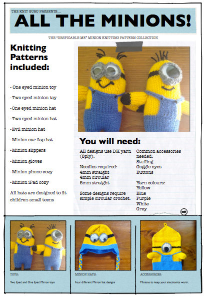 Minions And Despicable Me Knitting Patterns In The Loop Knitting