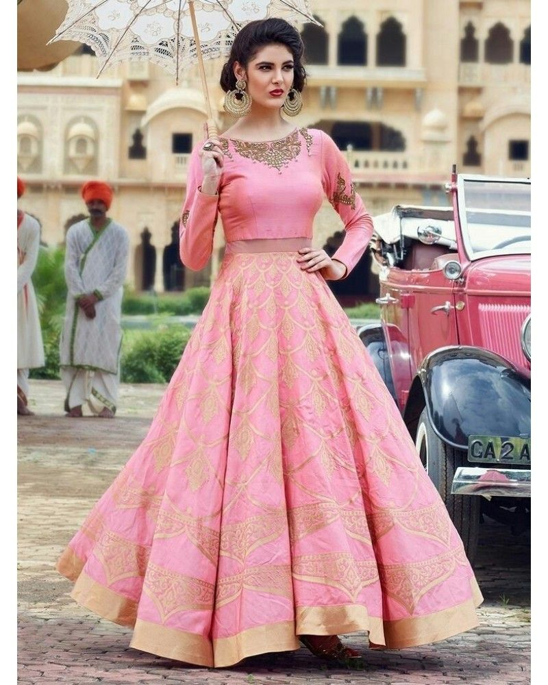 8b1ce63ba Buy Designer Poly Silk Machine Work Pink Semi Stitched Lehenga -  Bogglingshop