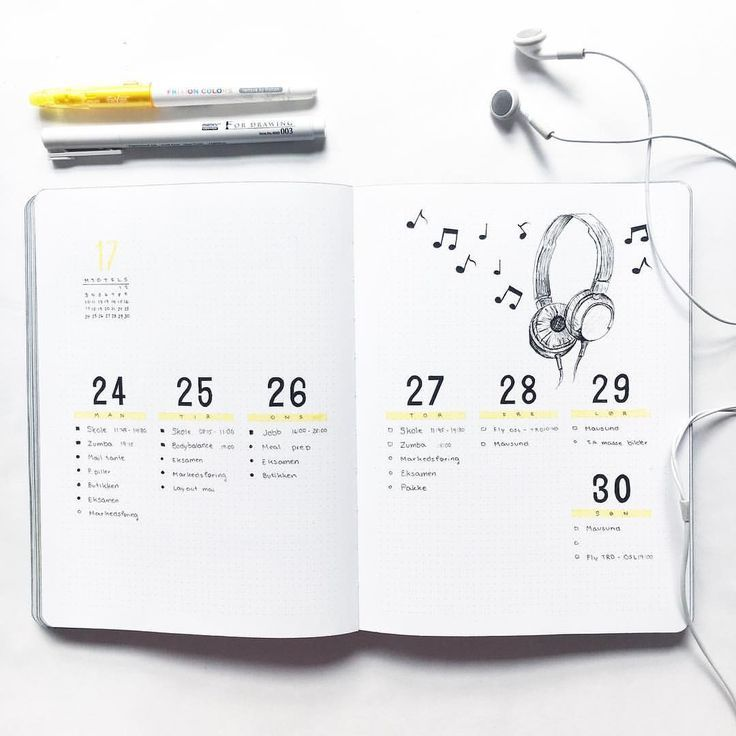 Creative Organization: Music Theme Simple Bullet Journal Weekly Spread. Bujo weeklies. Planner layout ideas.Bullet Journaling Ideas #bujoart #bulletjournaling