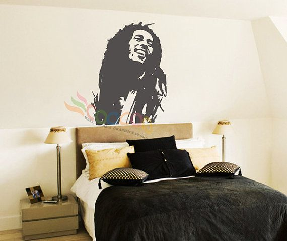 Wall decor decal sticker mural removable music by for Bob marley wall mural