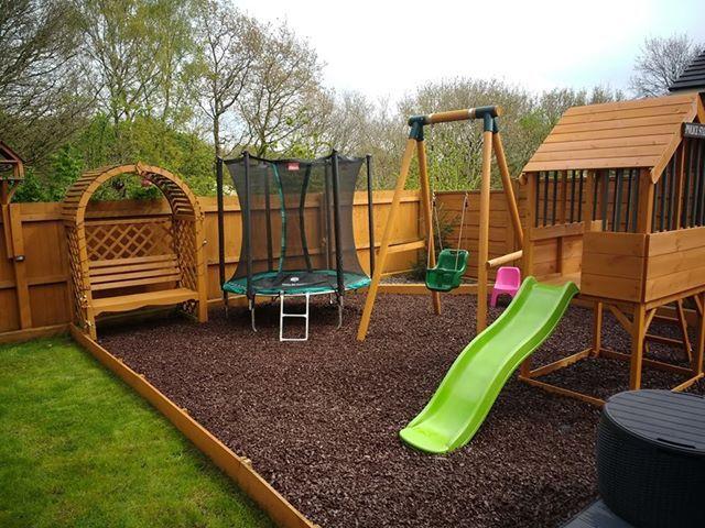 Rubber Play Bark | Backyard playground, Play area garden ...