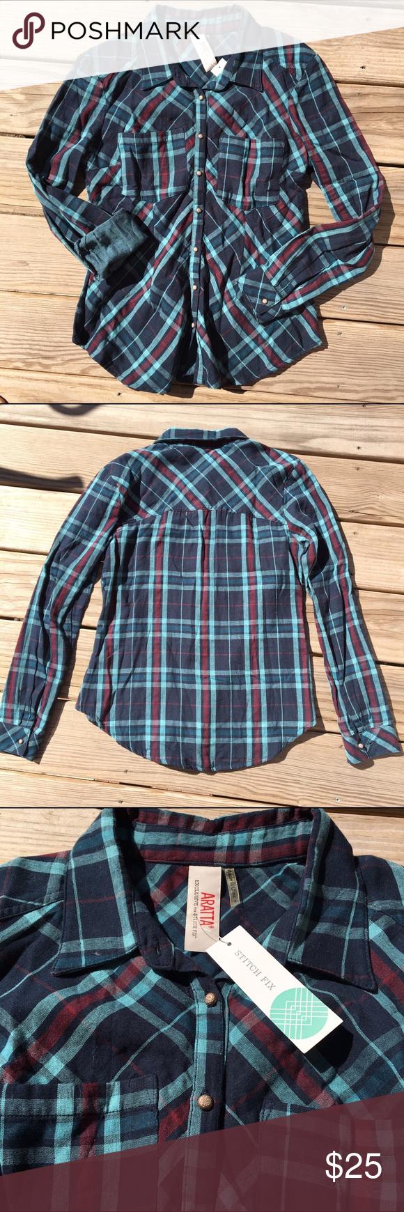 Navy blue flannel shirt womens  Womenus Cut Flannel NWT  Flannels Plaid and Navy