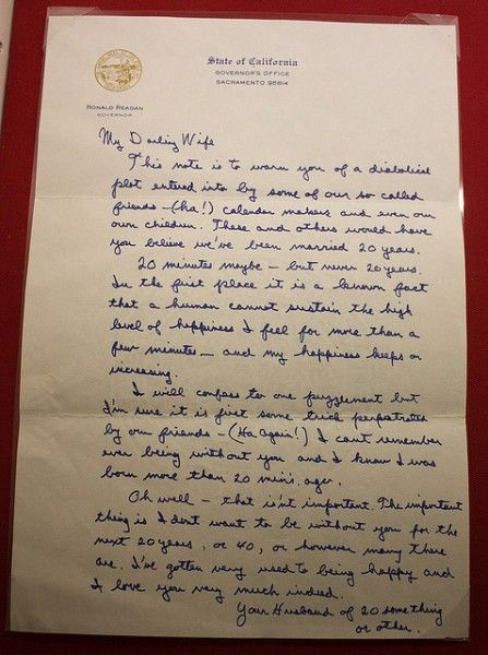 ronald reagan letter to his wife on their anniversary