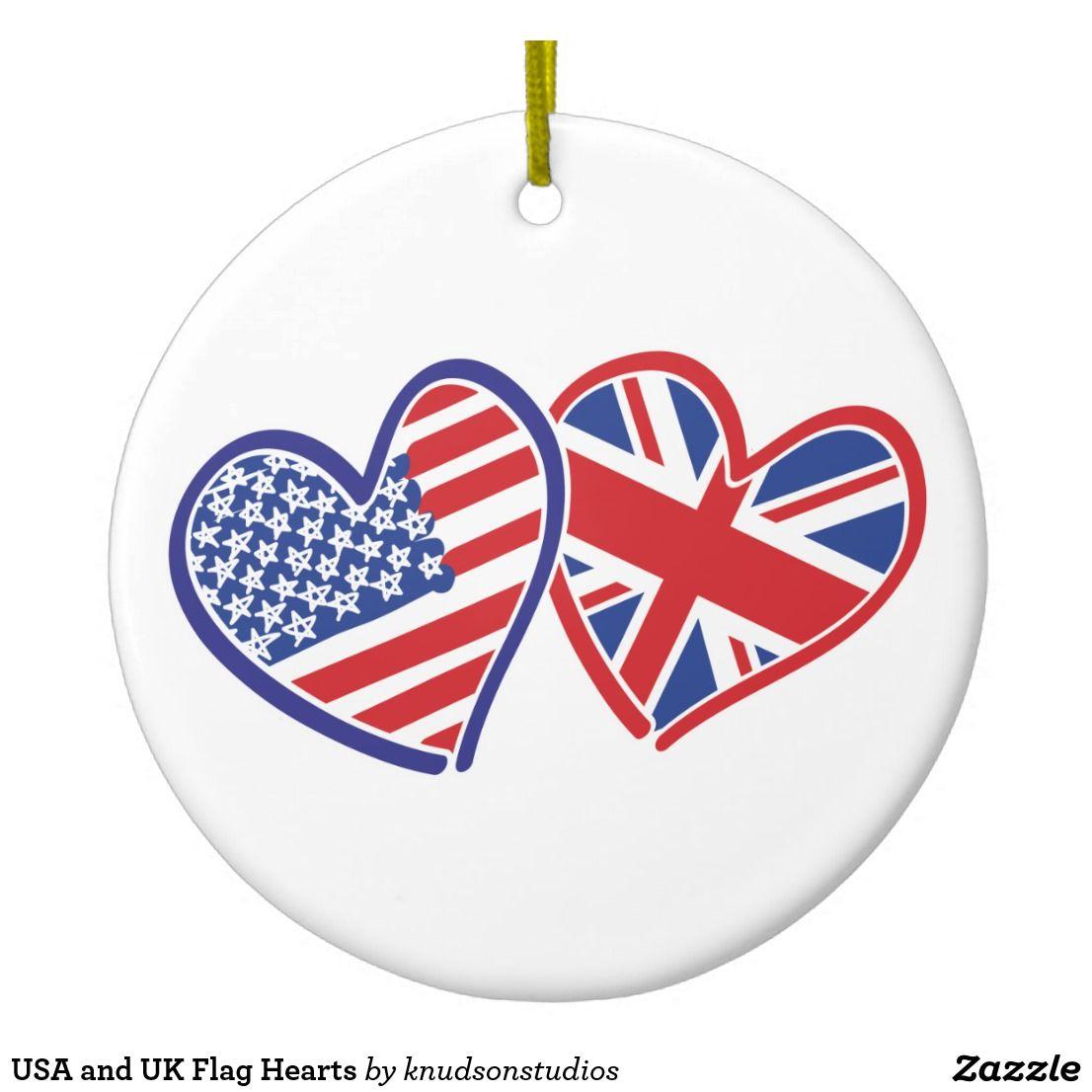 Usa And Uk Flag Hearts Ceramic Ornament Zazzle Com In 2020 Uk Flag Ceramic Ornaments Flag