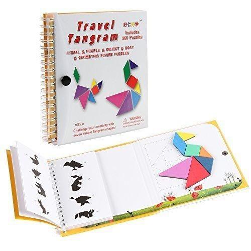 Coogam Magnetic Travel Tangram Puzzles Book Game Tangrams