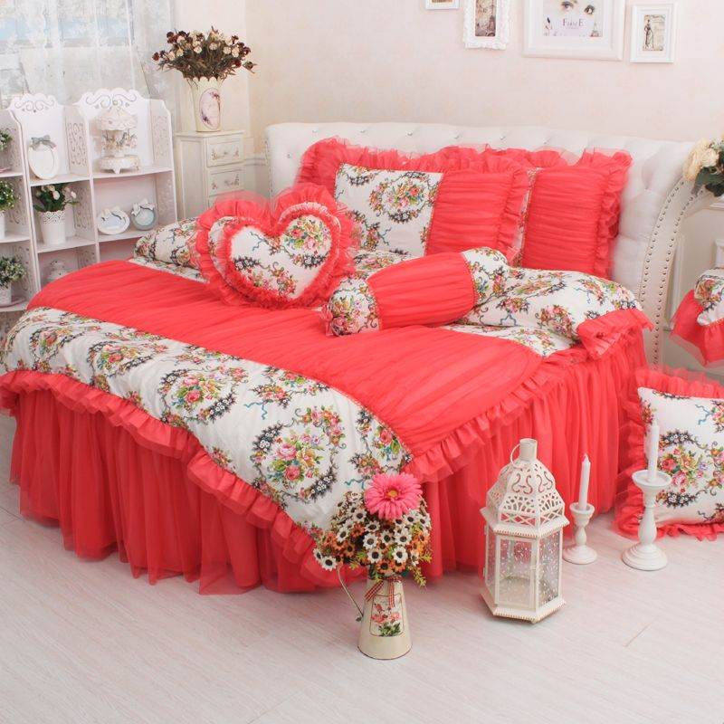 Best Find More Information About Round Bed Bedding 4Pcs Set Red 400 x 300