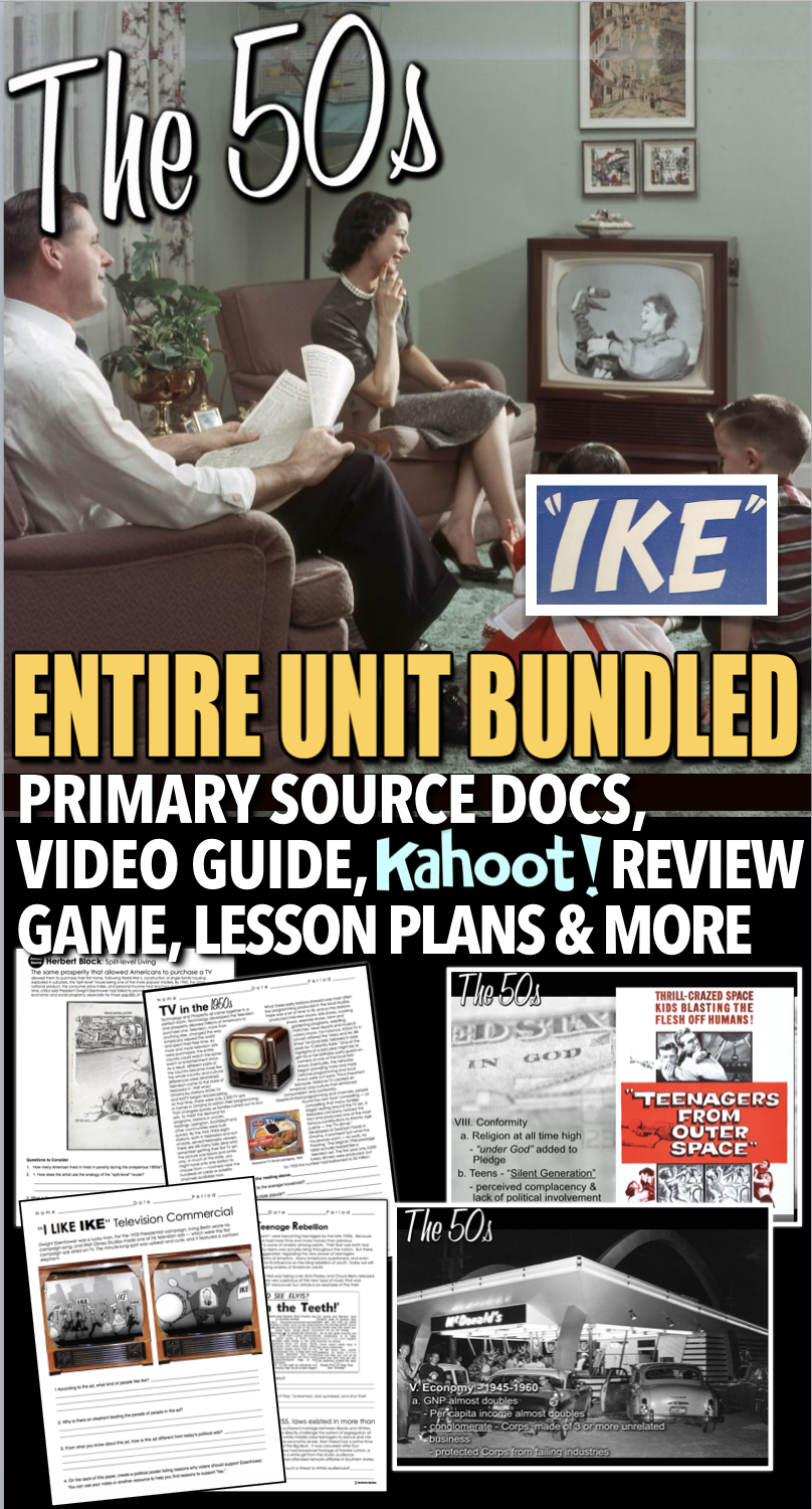 Photo of The 1950s Unit – PPTs w/Video Links, Plans, Primary Source Docs, Kahoot! & Test