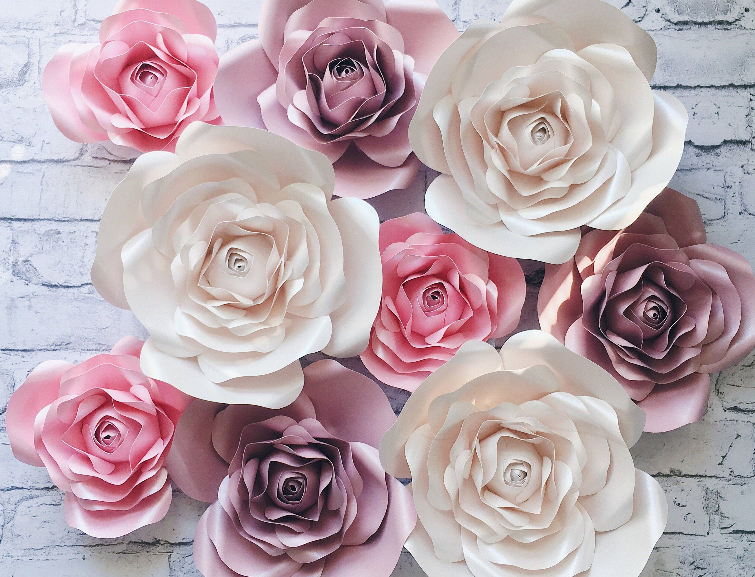 3D PAPER FLOWERS backdrop, Nursery roses Wall Decor #bigpaperflowers