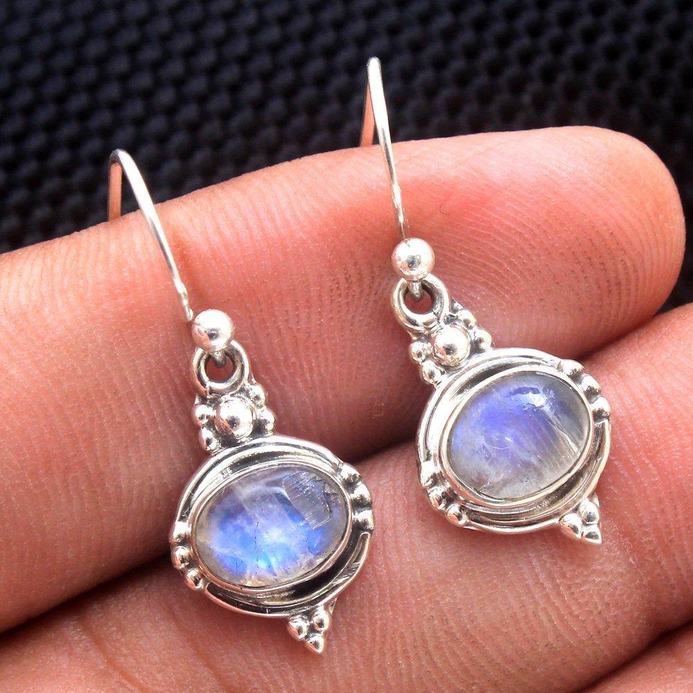 Gemstone Earring Moonstone Earrings Handmade Jewelry Gemstone Stud Earring Jewelry Silver Jewelry Women Earring Silver UK