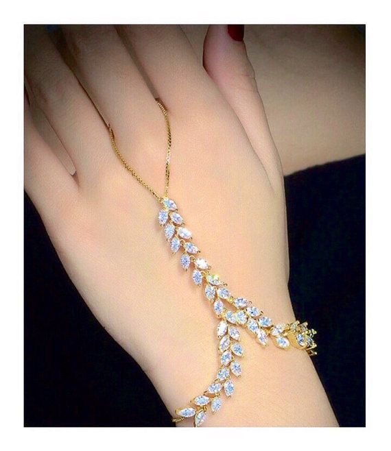 Two Chain Hand Bracelet Crystal Finger Jewelry Palm