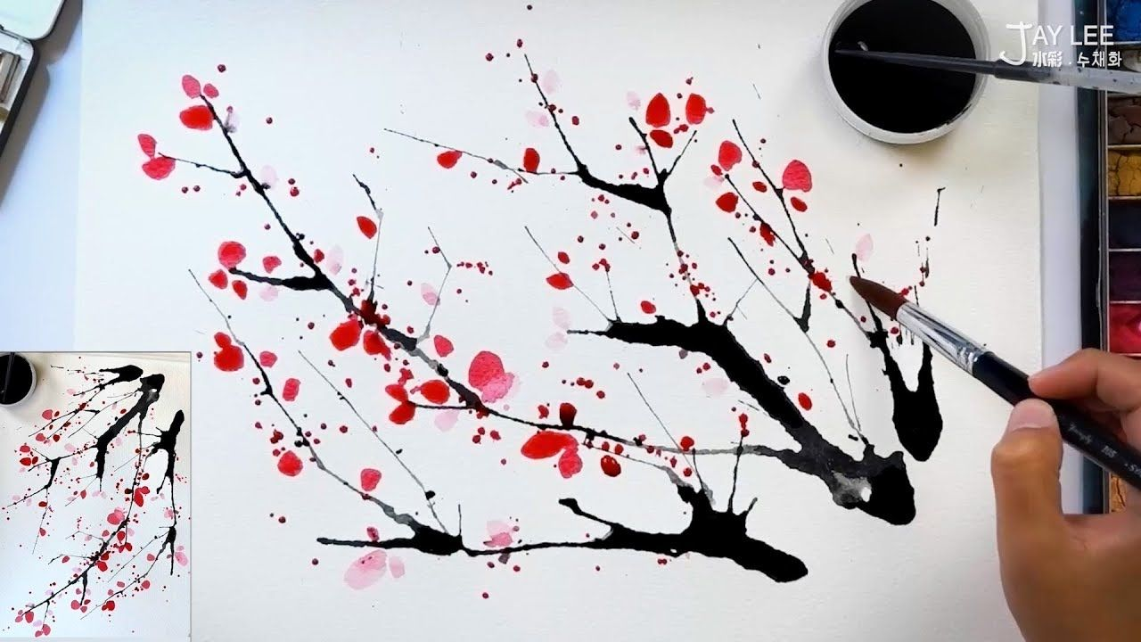 Easy To Draw A Cherry Blossom Using A Straw And Splatter Painting Technique Youtube Cherry Blossom Painting Flower Drawing Cherry Blossom Watercolor