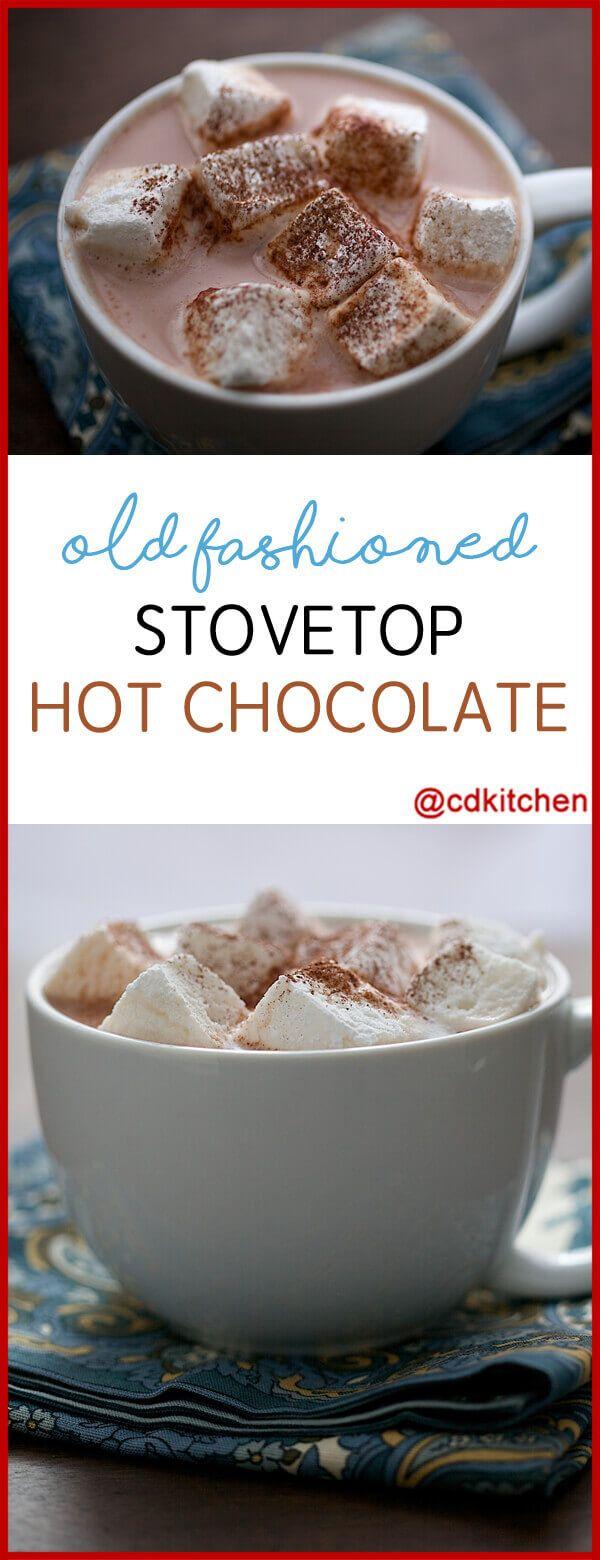 Old Fashioned Stovetop Hot Chocolate Recipe | CDKitchen.com #hotchocolaterecipe