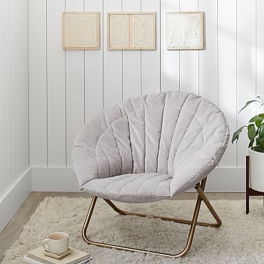 Gray Velvet Channel Stitch Hang A Round Chair #pbteen