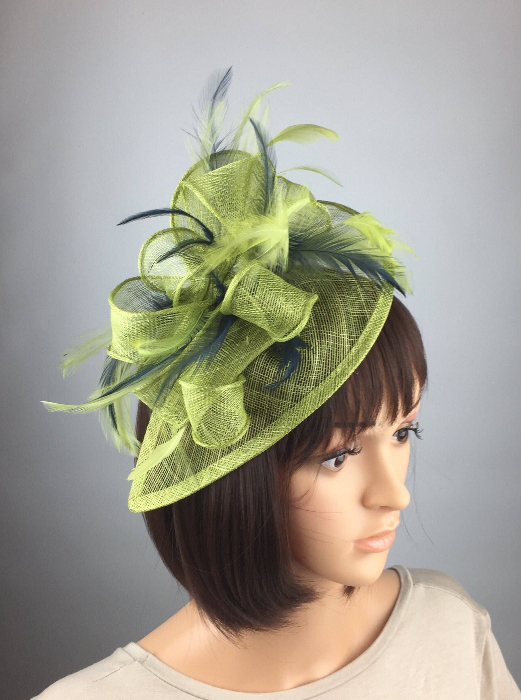 d9b65231 Lime Green and Blue Fascinator Navy and Green Hatinator Lime ...