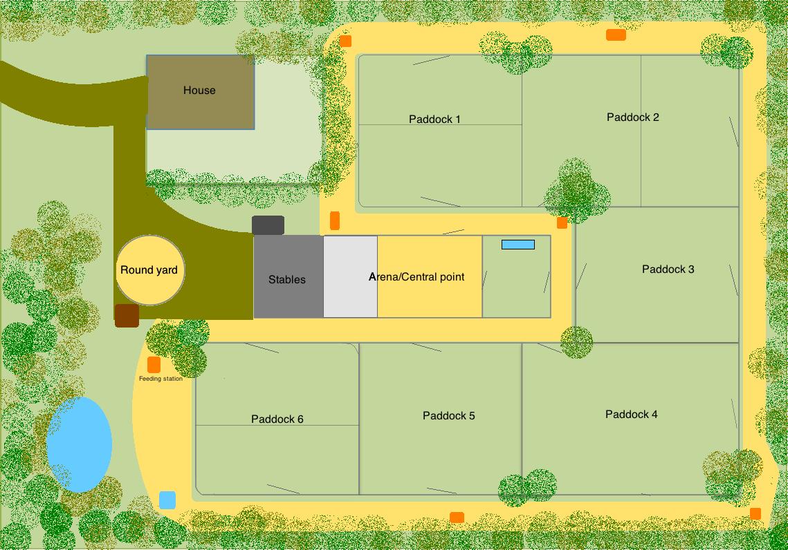 Efficient horse farm layout house pinterest horse for Horse farm house plans