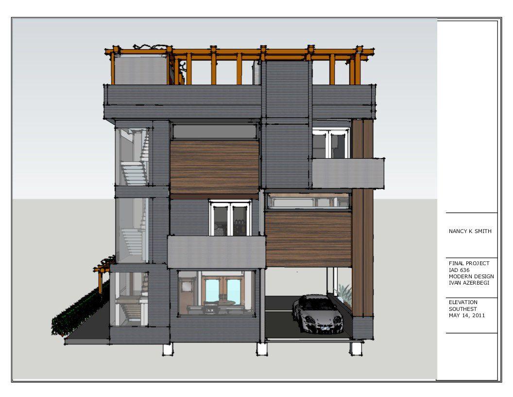 southwest elevation of three story contemporary house plan for southwest elevation of three story contemporary house plan for hills of oakland with carport and