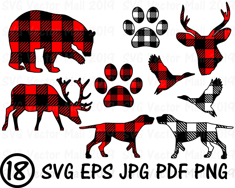 Plaid Animals, SVG, Plaid Deer, Dog paw svg, Buffalo Plaid