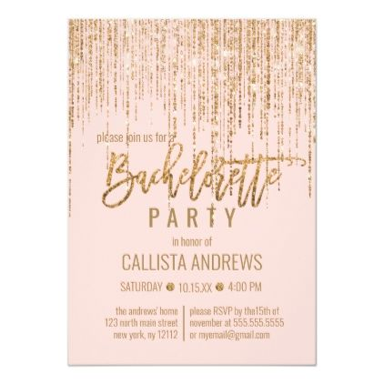 Chic Pink Gold Glitter Fringe Curtain Bachelorette Invitation | Zazzle.com #curtainfringe