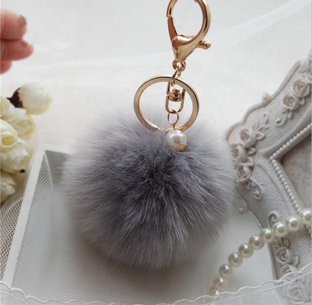 0231c18c23ed Hot Sale 8cm 13colors Imitation Rabbit Fur Big Bag Charm Pendent Gold  Plated Chain Fur Ball Pom Pom Keychain Keyring For Women