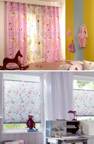 vorh nge gardinen und plissees f r das kinderzimmer m bel kraft curtains. Black Bedroom Furniture Sets. Home Design Ideas