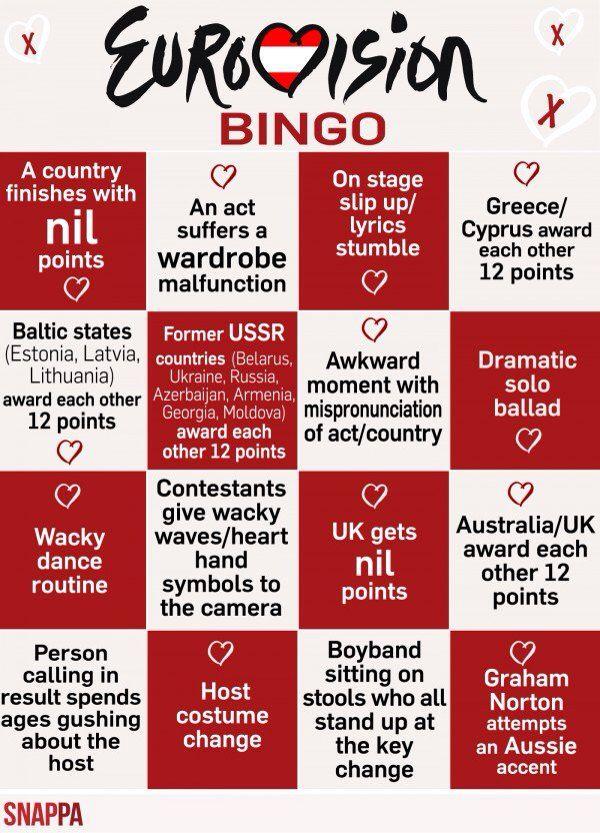 Eurovision Bingo Joonas 30v In 2019 Eurovision Drinking Game
