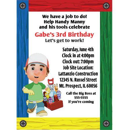 Handy Manny Birthday Invitation Bubba5 party ideas – Handy Manny Party Invitations