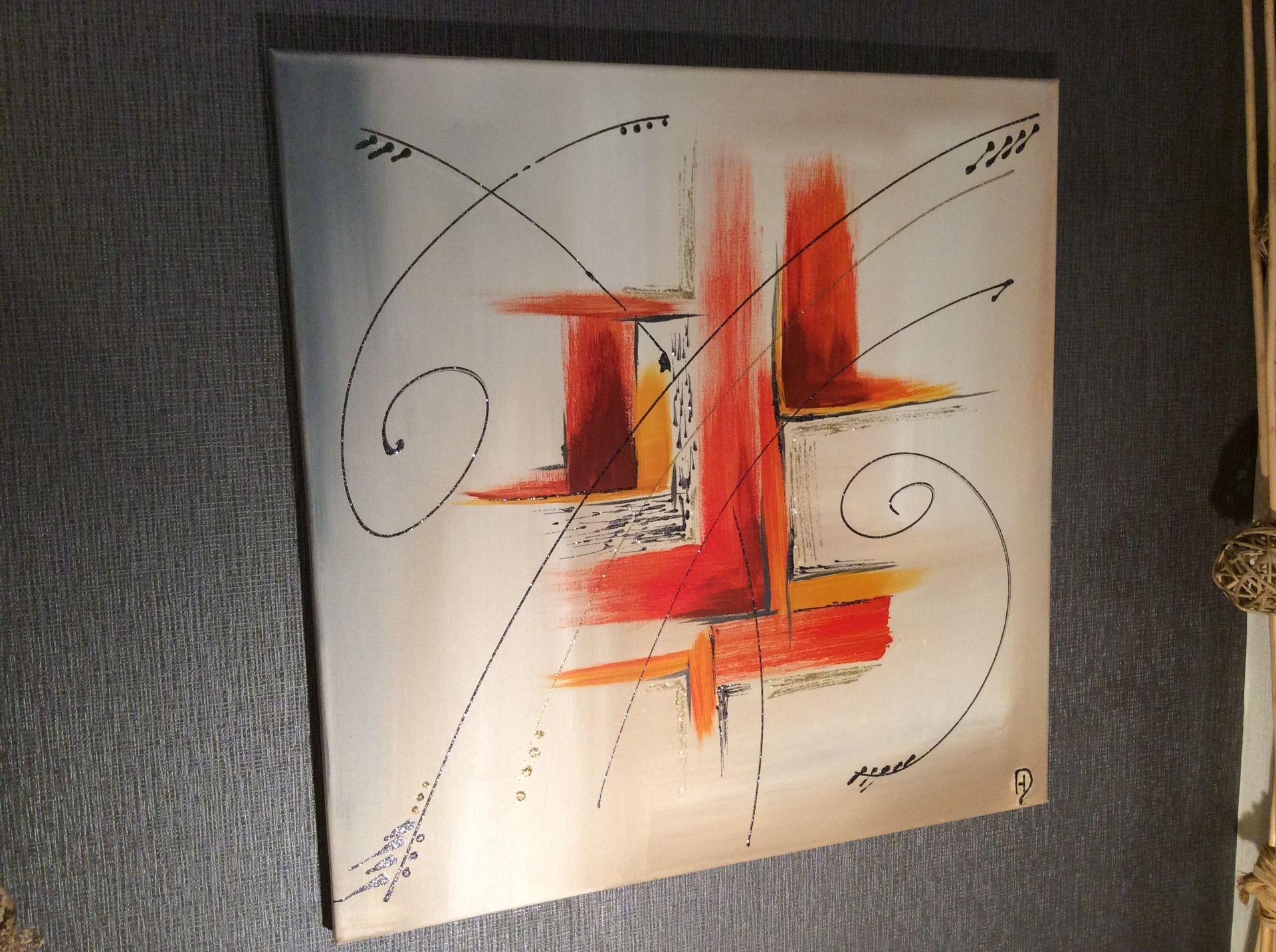 Tableau acrylique abstrait contemporain eclats orange for Tableau peinture contemporain