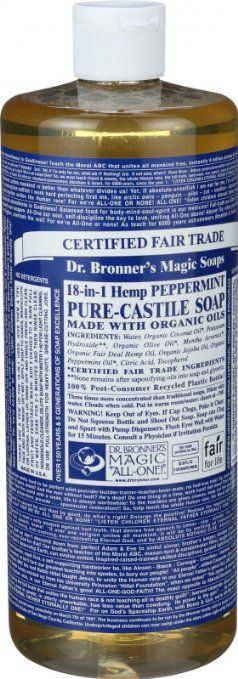 Dr. Bronner's Fair Trade & Organic Castile Liquid Soap - (Peppermint, 32 oz)