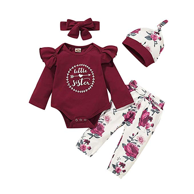 Toddler Baby Girls Letter Print Long Sleeve Romper+Floral Pants+Headband Outfits