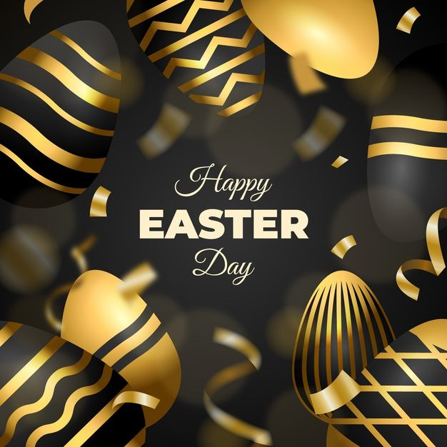 Golden happy easter day background Free   Free Vector