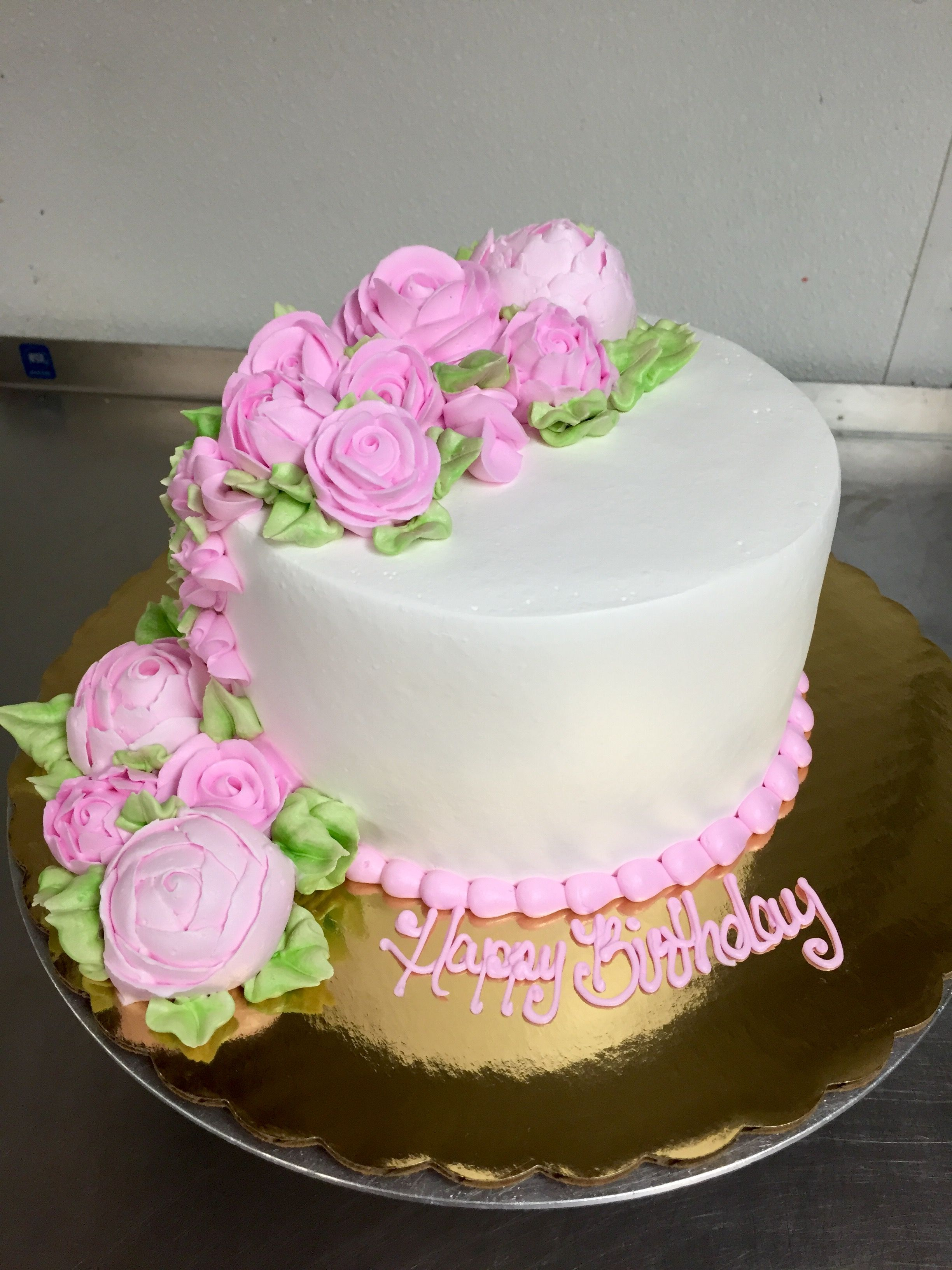 Buttercream Floral Cascade Cake | Cakes by Lauren at Alessi Bakery ...