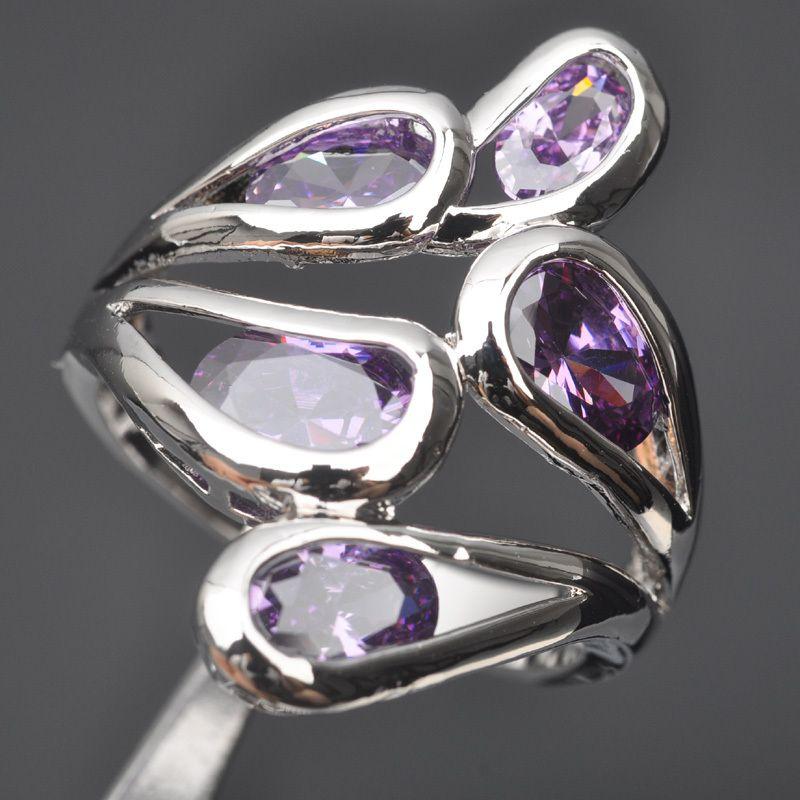 Dazzling Púrpura Piedra Zirconia Cúbico Para Las Mujeres 925 Anillo de Plata Esterlina Tamaño 6 7 8 9 Envío Gratis D01411