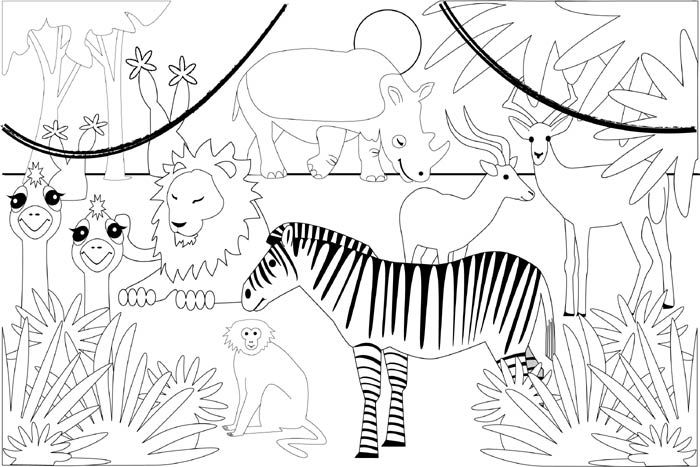 Free Jungle Printables Coloring Pages Printable Jungle Coloring